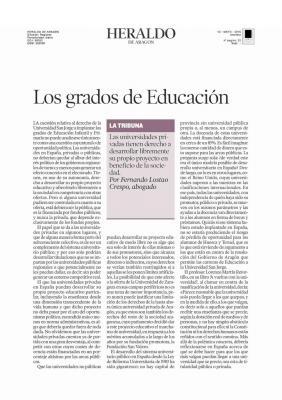 LOS GRADOS DE EDUCACION EN ARAGON
